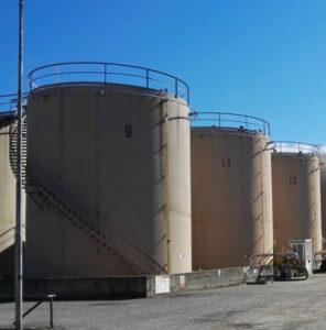 Bulk storage tanks in Milan.