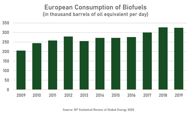 Statistic of European Biofuel consumpton in the last 10 years
