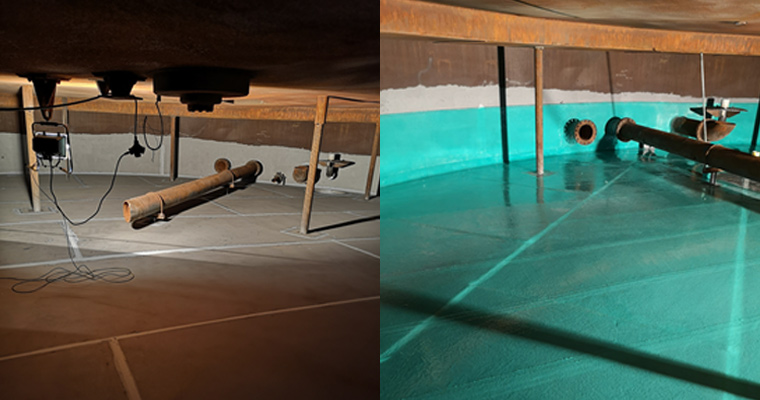 Sand-blasted and levelled tank floor (left), double laminated floor (right)
